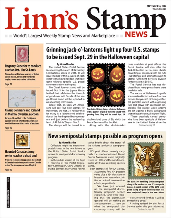 Linn's Stamp News Magazine Cover