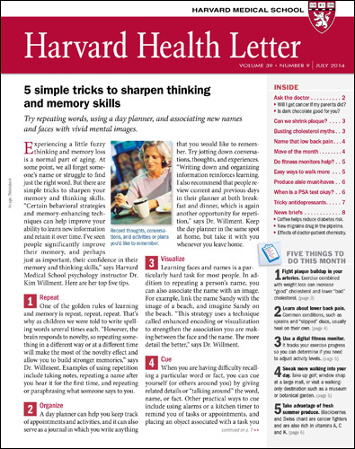 Harvard Health Letter Magazine Cover